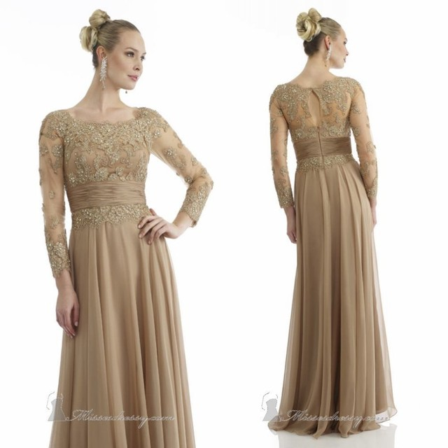 2017 New Gold Mother of the Bride Dress with Sheer Long Sleeves ...