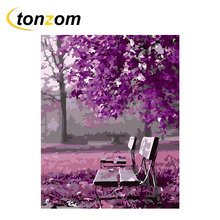 RIHE Purple Park Drawing By Number DIY Tree Chair Painting Handwork On Cuadros Decoracion Oil Art Coloring Home Decor