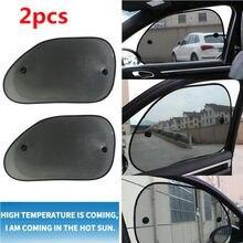 2x voiture fenêtre latérale arrière maille pare soleil ombre couverture bouclier UV protecteur 65*38 cm
