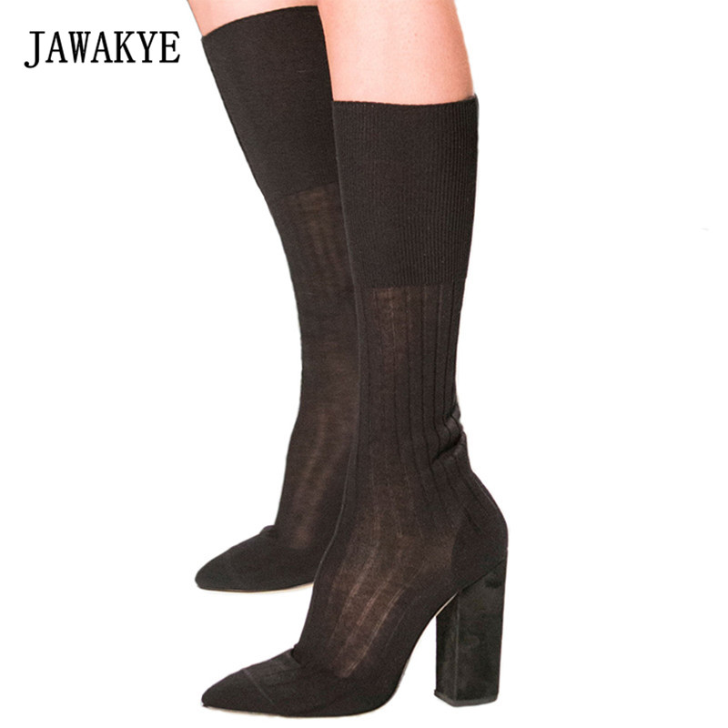 где купить 2017 Newest Runway Knit Knee High Boots Woman Pointed Toe Chunky High Heel Shoes For Women Fashion Stretch Sock Boots по лучшей цене