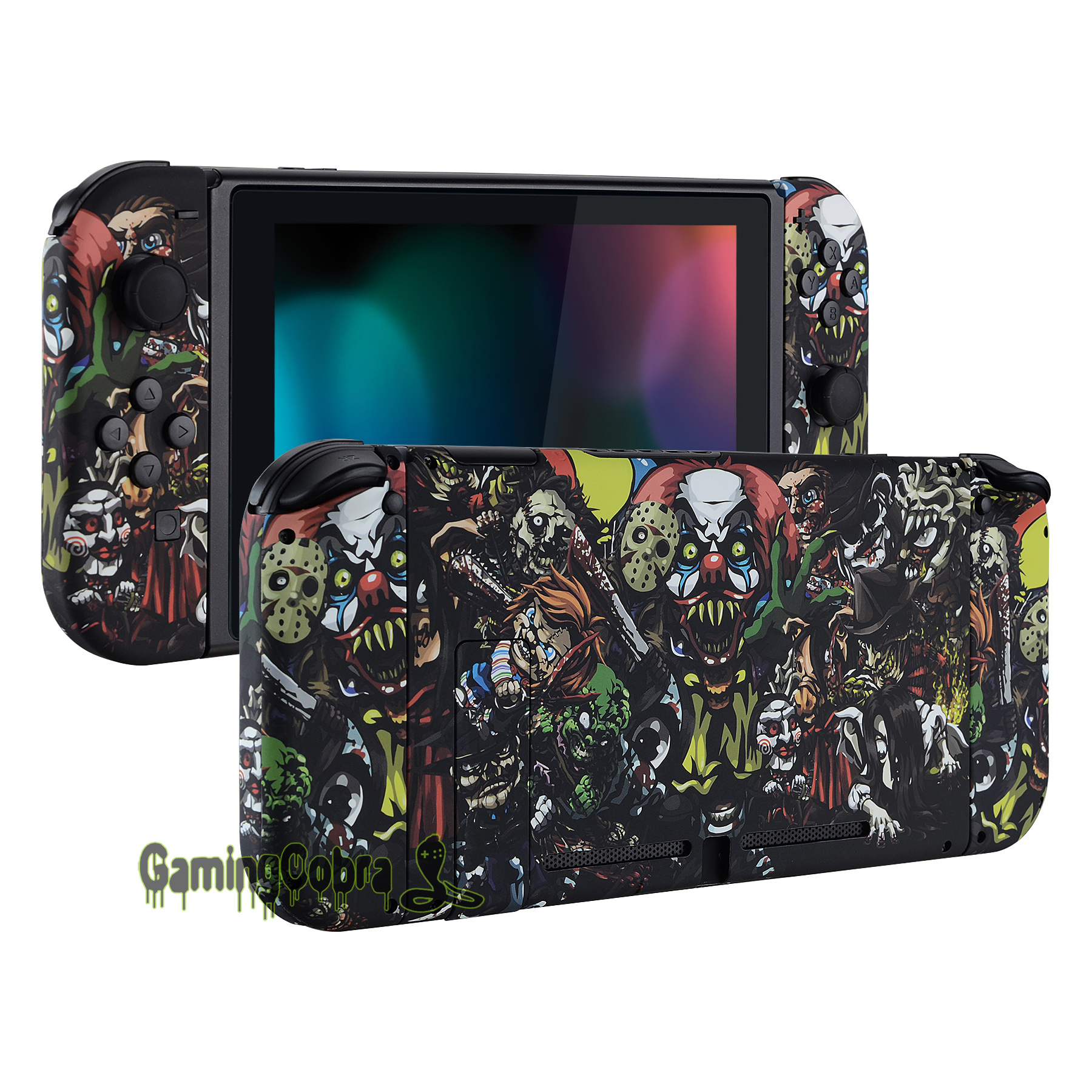 Scary Party Soft Touch Back Plate w/ Controller Housing Shell w/ Full Set Buttons for Nintendo Switch Handheld Console & Joy-ConScary Party Soft Touch Back Plate w/ Controller Housing Shell w/ Full Set Buttons for Nintendo Switch Handheld Console & Joy-Con