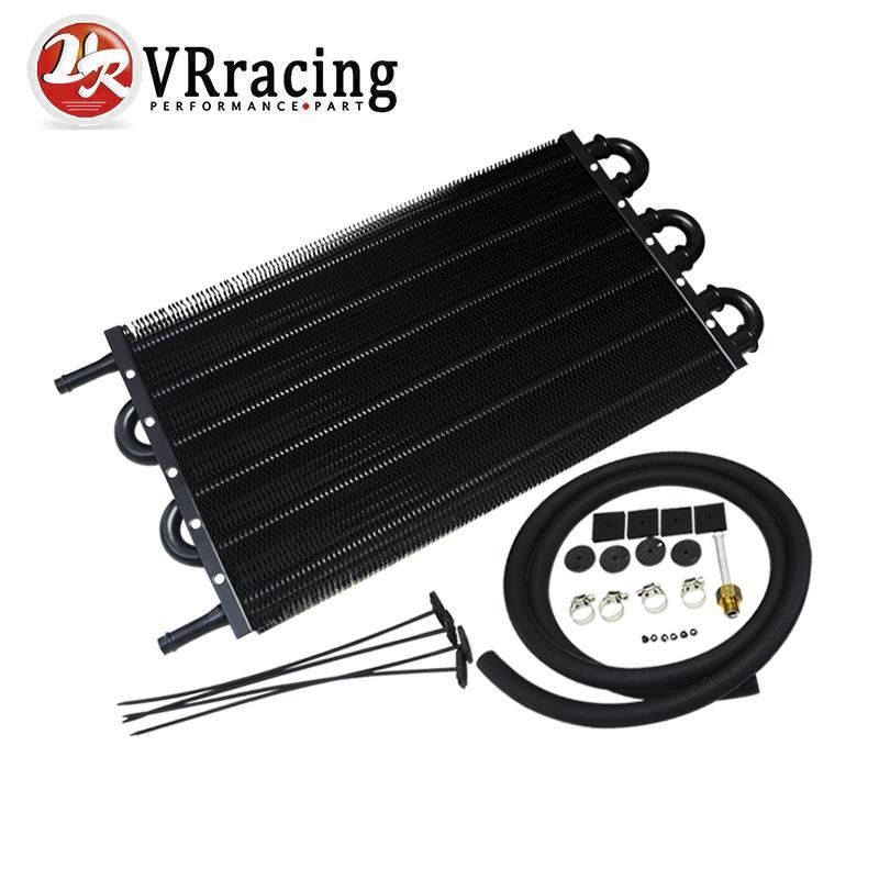 vr black universal 304 8x190 aluminum remote transmission oil cooler kit auto manual. Black Bedroom Furniture Sets. Home Design Ideas