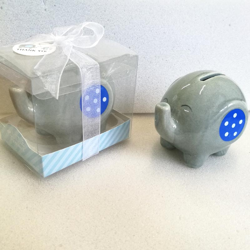 30pcs/Lot Kids Money Box Christmas Gifts Ceramic Elephant Bank Pink/Blue Coin Box Baptism Favors Souvenirs Drop Shipping