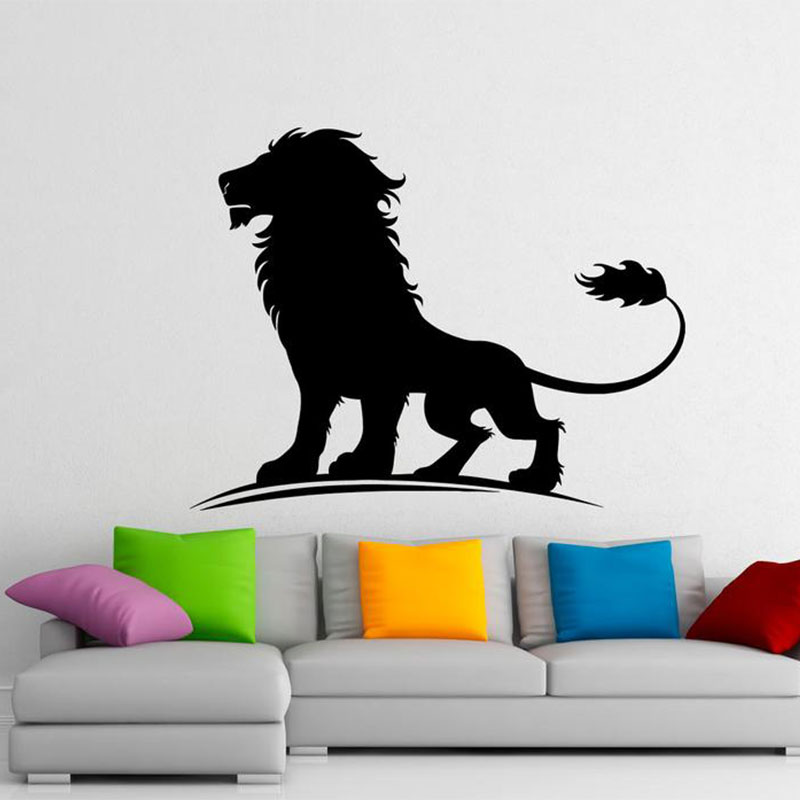 Lion Animals Wall Sticker Vinyl Home Decoration Living Room Bedroom Decals Interior Design Pattern Murals Removable Poster 3573 in Wall Stickers from Home Garden