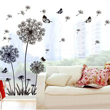 Creative Dandelion Butterfly Wall Sticker Removable Mural PVC Home Decor Pegatinas De Pared Home Decoration Accessories