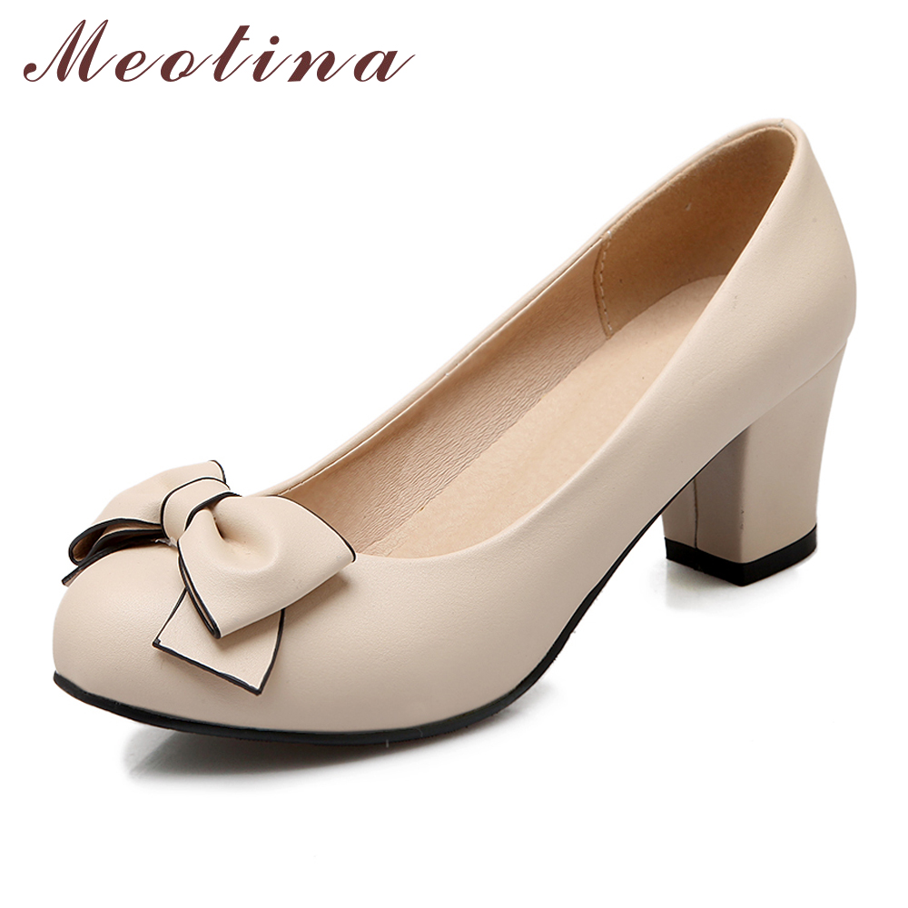 Meotina 2017 Women Shoes High Heels Bow Ladies Shoes Chunky High Heels Round Toe Work Pumps Pink Beige Discount Large Size 34-43