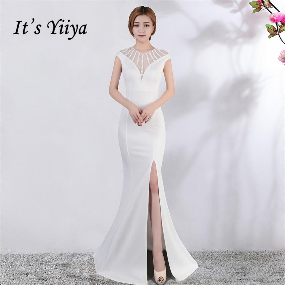 It's Yiiya Evening Dress V-neck Short Sleeves Beading Party Gowns Sexy Floor-length Zipper Back Formal Mermaid Prom Dresses C174