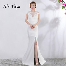 Its Yiiya Evening dress V-neck Short sleeves Beading Party gowns Sexy Floor-length zipper back Formal Mermaid Prom dresses C174