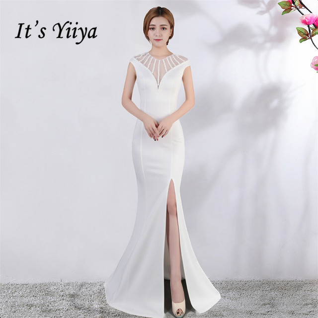 Its Yiiya Evening dress V neck Short sleeves Beading Party gowns Sexy Floor length zipper back Formal Mermaid Prom dresses C174