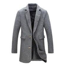 2016 Горячей Продажи Бренда-Одежда Зима Теплая Пальто Моды для Мужчин Шерсть смесь Пальто Для Мужчин Повседневная Slim Fit Плюс Размер Пальто мужчины