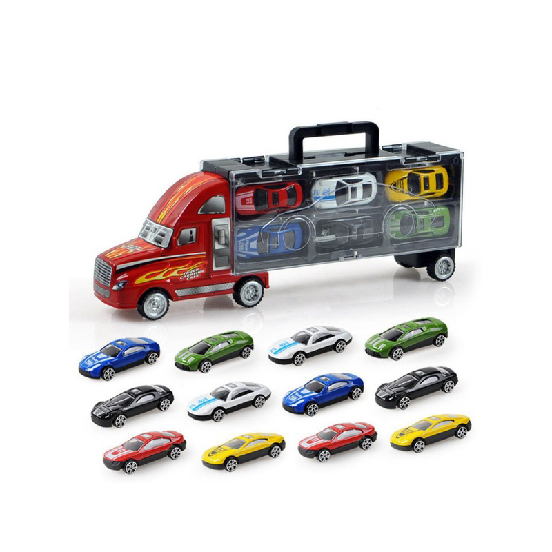 13Pcs/Set Transport Car Carrier Truck Boys Toy includes Alloy 12 cars For Kids Children
