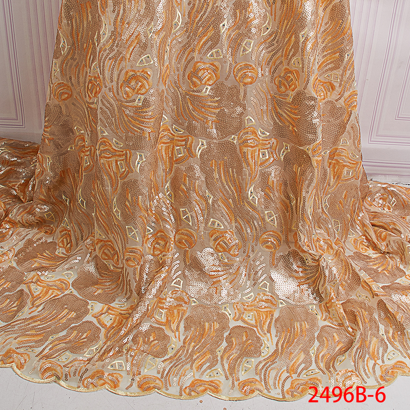 Latest Nigerian Lace Fabric Gold Sequin High Quality Embroidered Lace Fabric African French Lace Fabric For Wedding KS2496B-6