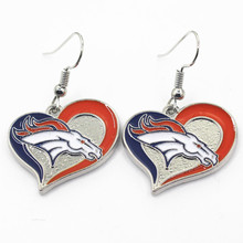 New Arrive Heart Denver Broncos Charm Sports Earrings Football Team Earrings Charms Jewelry Women Erring 6pair/lot
