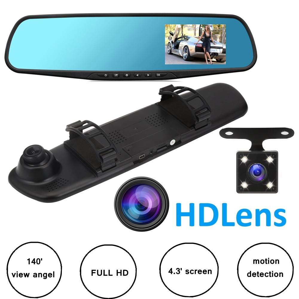 4.3'' Car DVR Camera Rearview DVR Mirror 2 Cameras Dash Cam 1080P Auto Video Registrator Recorder Dual lens Dashcam dual camera dvr 1080p 170 degree wide angle dash cam rearview mirror car camera auto dashcam recorder revresing images