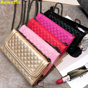 Image 1 - Aoweziic Luxury folding mirror card wallet leather case For iphone 11 pro max X XS MAX XR Case 8 7plus cover crossbody chain bag