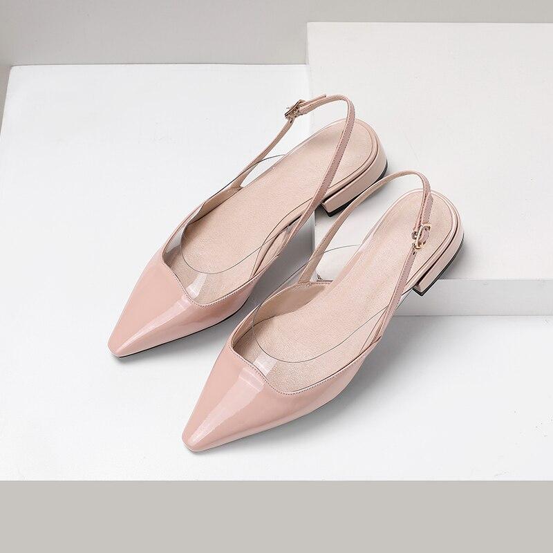 Superstar ufficio della signora in pelle di mucca tacco basso sandali delle donne punta a punta poco profonda dolce elegante fibbia scarpe da sposa taglia 43-in Scarpe con tacco basso da Scarpe su  Gruppo 2