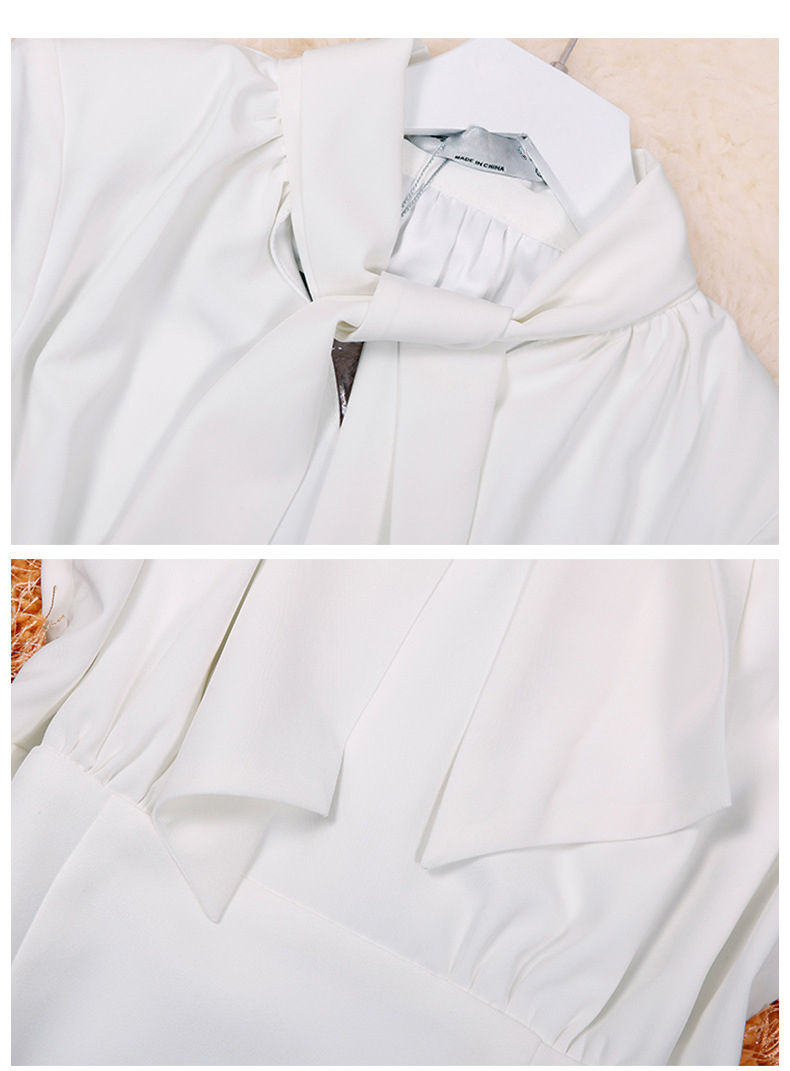 High Quality Autumn Fashion Women Dress 18 New Solid Long Sleeve Bow Collar Elegant Knee-Length Dresses Vestidos C2361 6