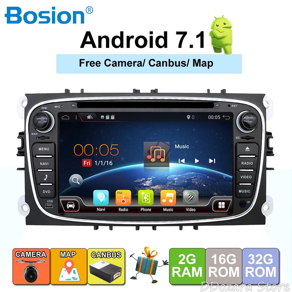 2 din Android 7,1 4 ядра автомобильный DVD плеер с gps-навигатором для Ford Focus Mondeo Galaxy с аудио Радио стерео Штатная бесплатная Canbus