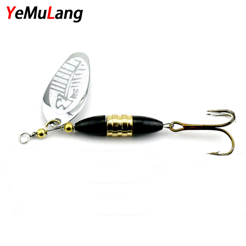 YeMuLang 1 piece Hard Fishing Lures 8.5cm Spinner Baits Isca Artificial Pesca Carp Fishing Wobbler Peche Metal Spoon With Hook 10pcswith box metal spoon set fishing lure pesca peche tackle wobblers hard lures isca artificial fresh water sequin paillette