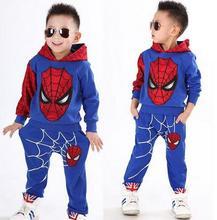 цена на 2015  retail spiderman kids clothing sets children fashion cartoon summer shirt + pants boys tees pants suit