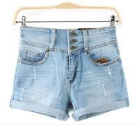 Summer Woman Sexy Ripped Hole Shorts Ladies Casual Short Jeans Breasted Feminino Brand High Waist Plus