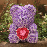 Foam rose bearMulticolor wedding decoration gift rose bear multicolor gift box valentine's day birthday gift Factory direct sale