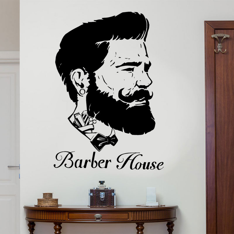 Us 12 73 5 Off Man Barber Head Portrait Wall Sticker Vinyl House Decor Hair Salon Wallpaper Removable Mural Poster B567 In Wall Stickers From Home