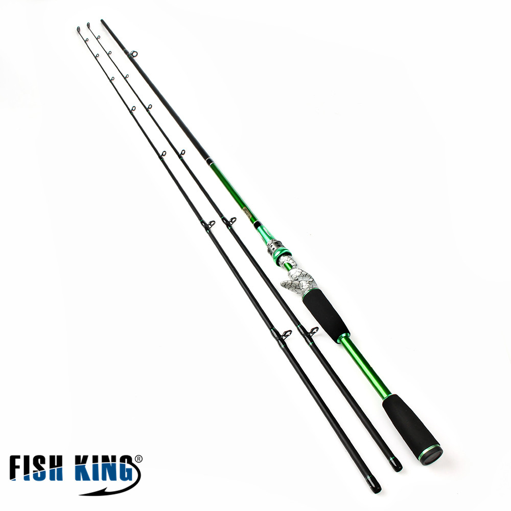FISH KING 99% Carbon 2.4m Hard 2 Section mit einer Extra Lure Angelrute Baitcasting / Spinner Rod Olta Vara De Pesca Acesorios