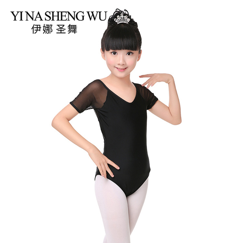 New Children Dance Clothing Ballet Dance Practice Leotard Girls Short-Sleeve V-neck Mesh Splice Black Gymnastics Dance Costumes