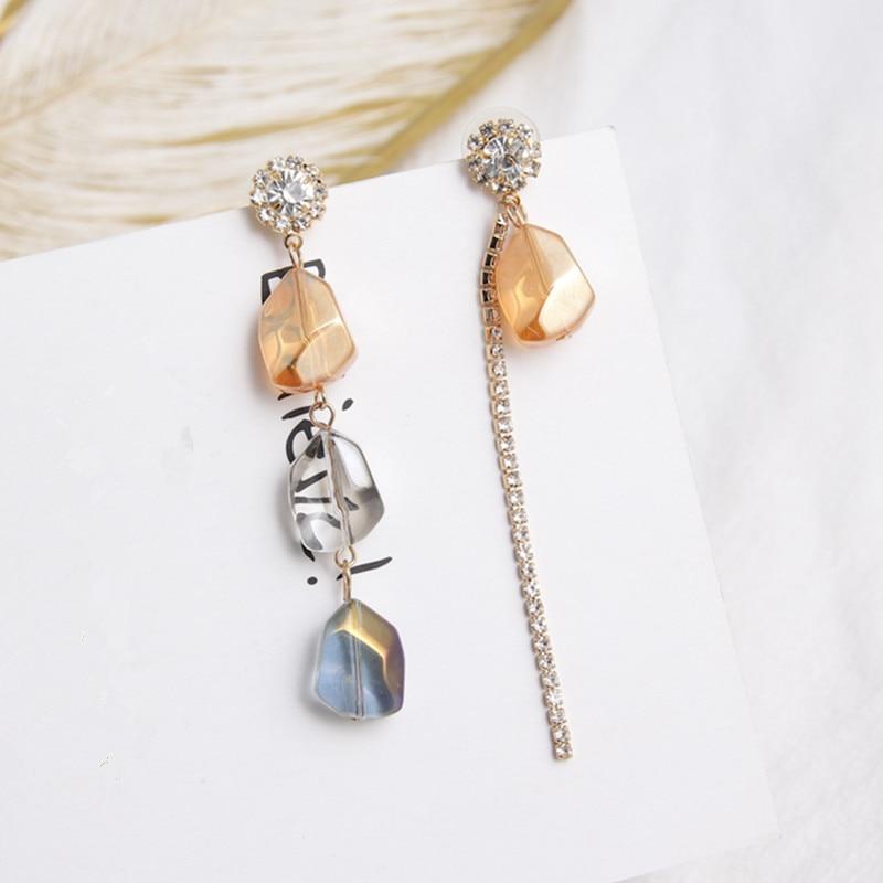 New Colorful Crystal Stone Asymmetry Long Drop Earrings for Women Luxury Shiny Rhinestone Tassel Earring Jewelry Brincos 6B3016