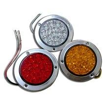 2pcs 16-LED Tail Lights Back-up Reverse Lamps Round Clear Lens 12V 24V Red  Amber white for Truck Trailer RV
