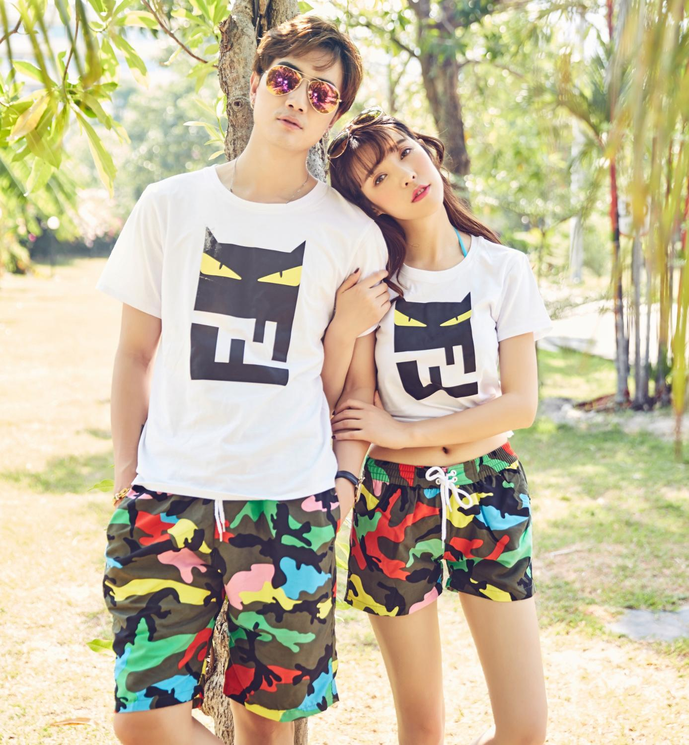 Shorts Loose Swimwear Camouflage-Print Quick-Dry Woman And Colorful Holiday L-2XL Couples
