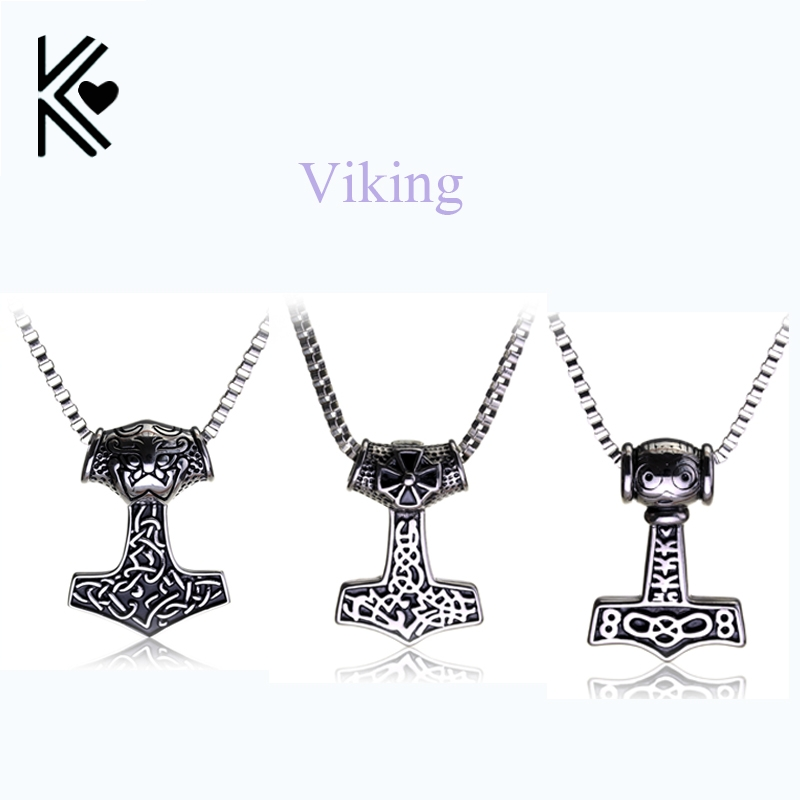 Movie Jewelry Viking Pendant Necklace Norse Odin Thor s Hammer Mjollnir Necklace Punk Vintage Style Men