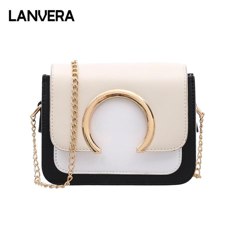 87d57f8b5 LANVERA marca mujeres moda sólido cadenas cubierta mini flap bolso hotsale  monedero de la señora embrague hombro messenger crossbody bolsos