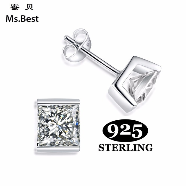 Fine 925 Sterling Silver Earring Studs For Women Or Men Square Zirconia Rhodium Coated Simply Fashion