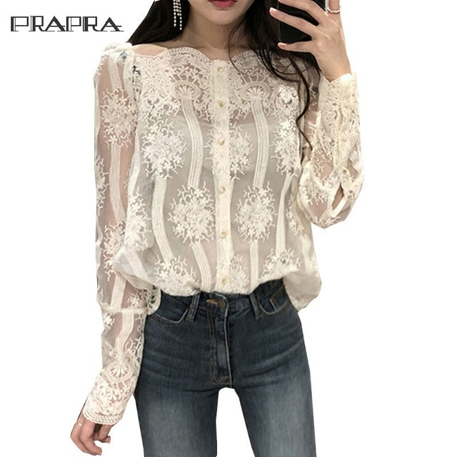 2612b42622b New Blouse Shirt Sexy Lace Women Off Shoulder Tops Korean Casual Long  Sleeve Black White Shirts S-XL