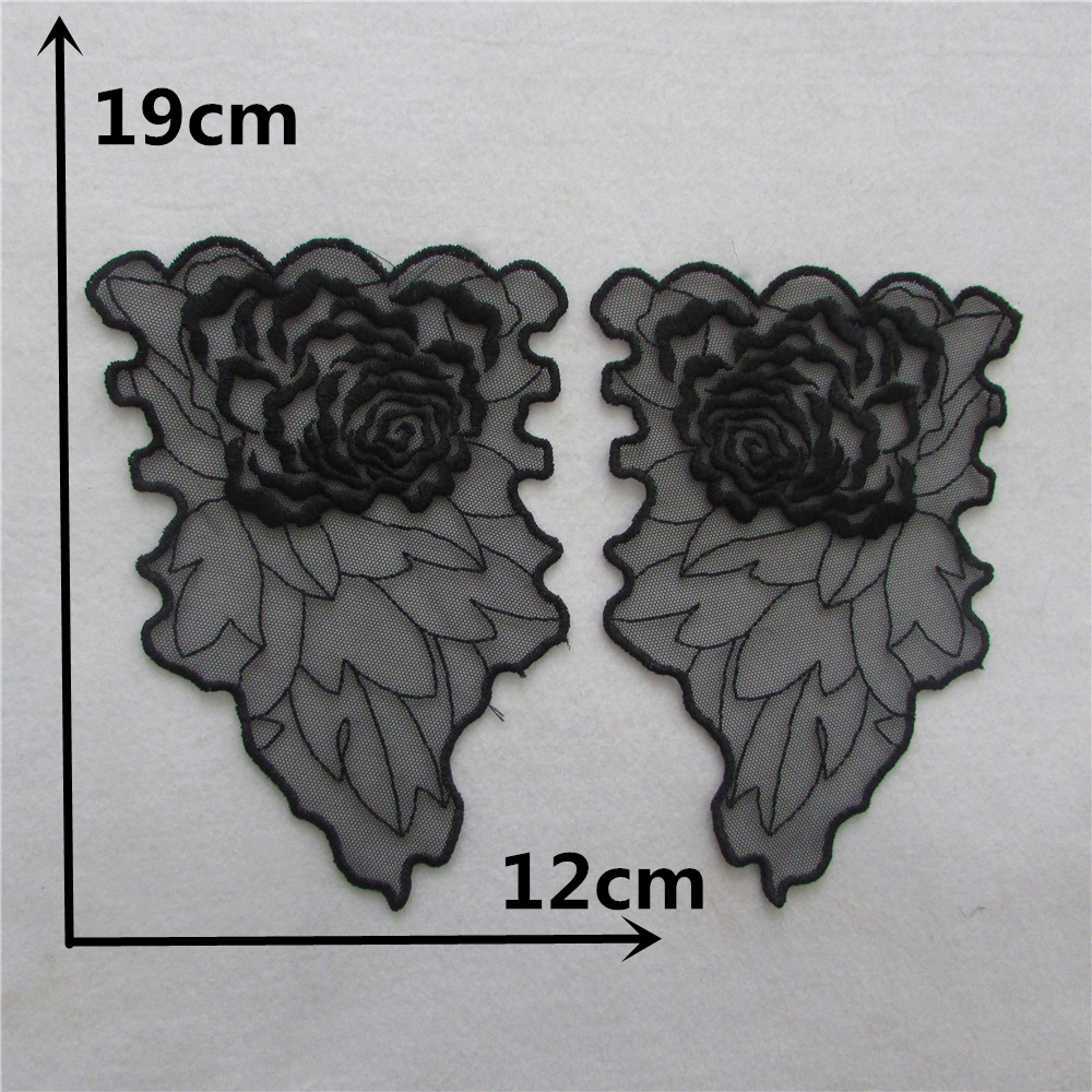 2017 new lace cuff A pair sale front and back Lace Collar Style Beautiful Flower Lace Applique Trim Lace Fabric Sewing Supplies