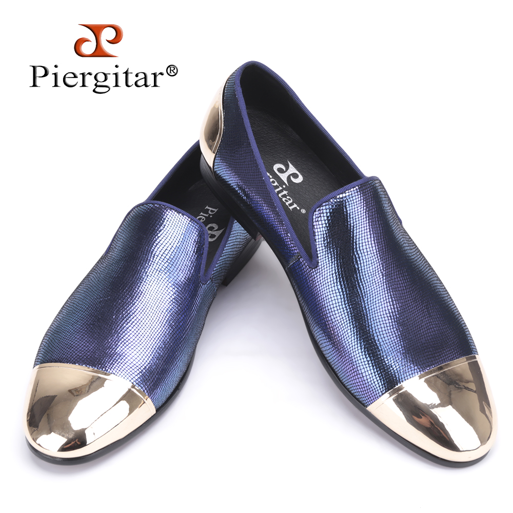 Piergitar new style blue and red plaid sheepskin men's shoes with front and back metal toe Handmade Banquet and Prom men loafers piergitar 2016 new india handmade luxurious embroidery men velvet shoes men dress shoes banquet and prom male plus size loafers