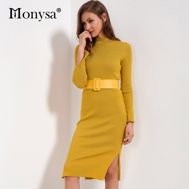 47197f52cce Knitted Dress Women 2018 Winter New Arrivals Fashion Long Sleeve Sweater  Dresses Ladies Bodycon Knee Length Dress With Belt