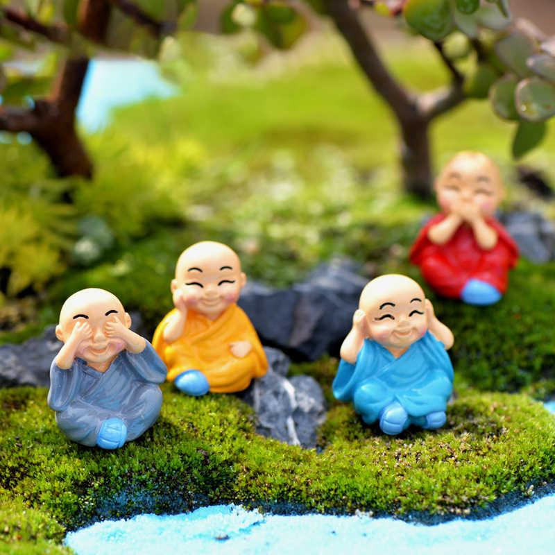 4pcs/Set Mini buddha Figurines Miniature For Home Bonsai Decoration Micro Landscape Decor