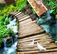 3d Flooring Waterproof Wall Paper Custom 3d Flooring Wooden Bridge Water Self Adhesive Wallpaper Vinyl Flooring