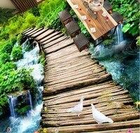 3d Flooring Waterproof Wall Paper Custom 3d Flooring Wooden Bridge Water Self Adhesive Wallpaper Vinyl Flooring