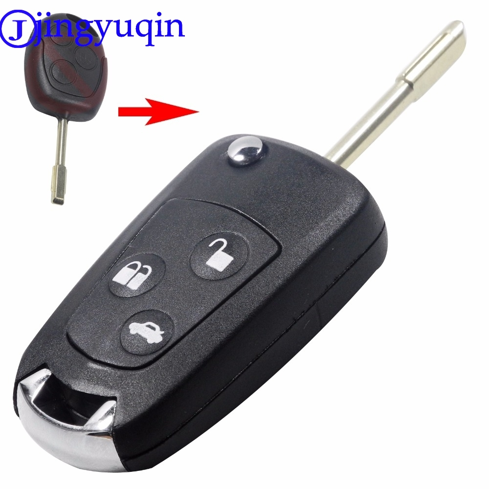 jingyuqin 3 Buttons Refit Remote Folding Car Key Flip Shell Case Stying Cover For Ford Focus KA Mondeo Uncut Blank Fob
