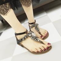 Summer Sandals Women Shoes Flat Flip Flops Crystal Snakeskin Ankle Strap Ladies Shoes Open Clip Toed Gladiator Shoes Footwear