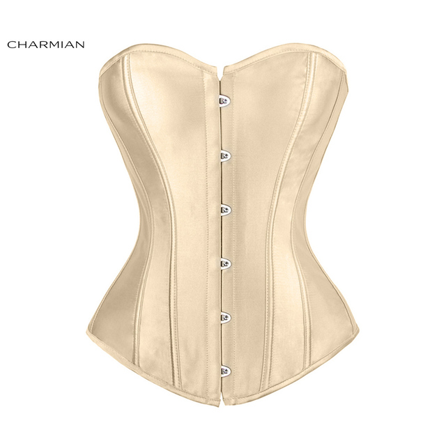 f10c6b8a59 US $13.79 40% OFF|Charmian Women's Plus Size Sexy Overbust Corset Black  Satin Corsets and Bustiers Waist Trainer Body Shaper-in Bustiers & Corsets  ...