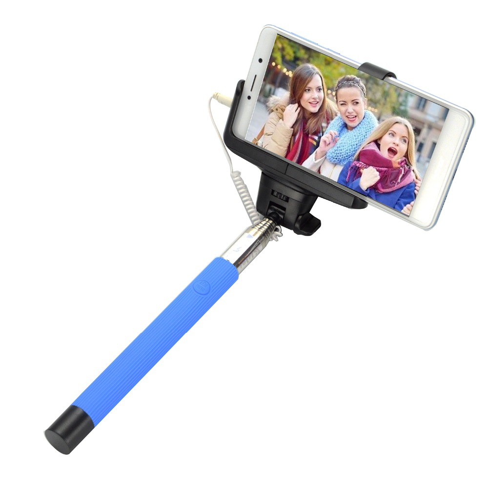 Wired Selfie Stick Extendable Handheld Monopod Self Portrait Tripods For iphone Samsung Xiaomi Huawei bluetooth selfie stick extendable handheld monopod clip holder shutter remote controller tripods for iphone android with packag