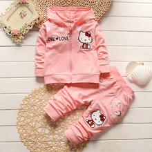 Girls Clothing Winter Kids Clothes Cotton Fashion Costume Cute Cartoon Kitty Print Coat + Pants Outfit Suits Girl Tracksuit 0-4Y