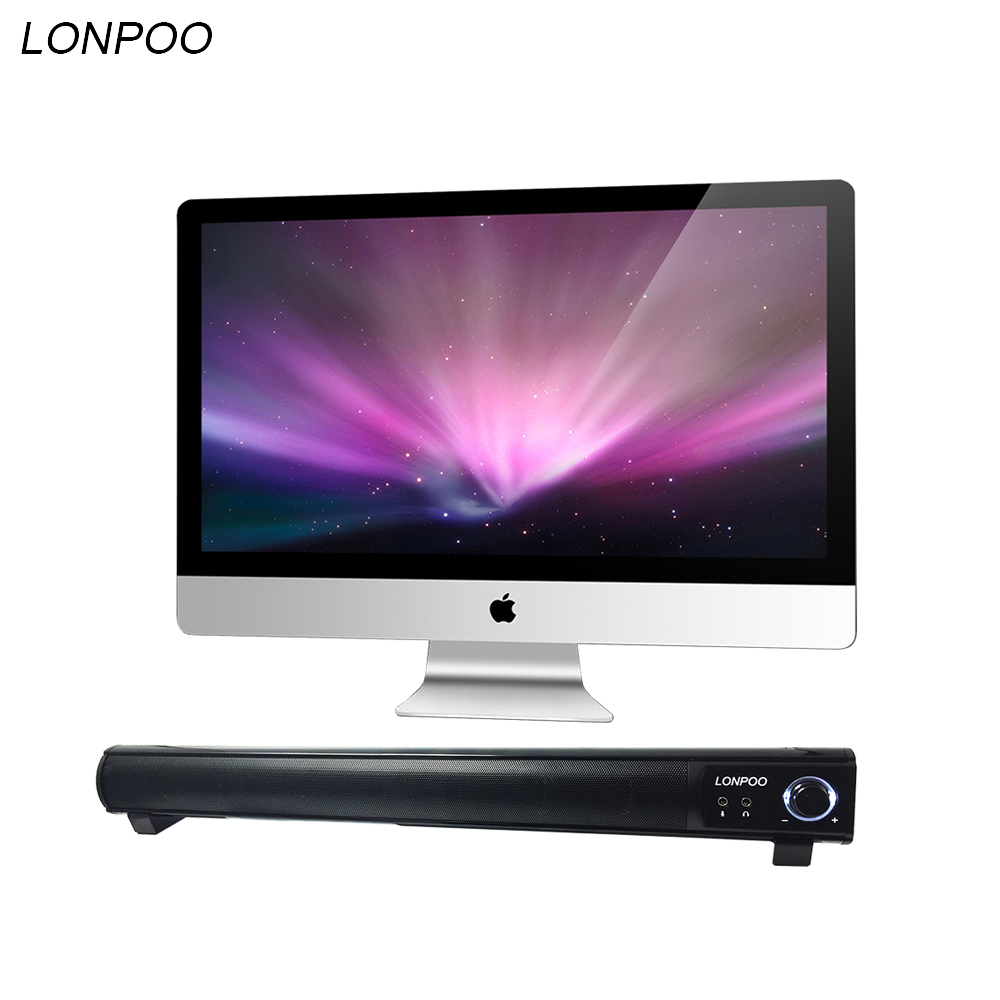 LONPOO 2017 Original Mini SoundBar 10W Portable Speaker with Stereo Super Bass for smart phone tablet laptop  Home Theater