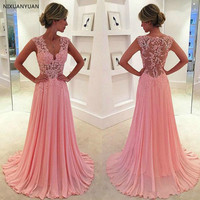 Vestido De Festa Longo Formal Gowns Pink Appliques Abiye Robe De Soiree Elegant Chiffon Long Formal Evening Dress Custom Made