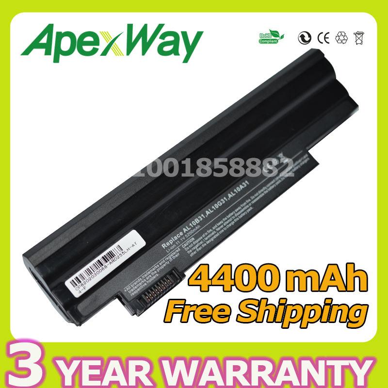 Apexway Black 4400mAh laptop battery for Acer Aspire AL10A31 AL10B31 AL10G31 One 522 D255 722 D257 D255E D260 D270 AOD255 AOD260